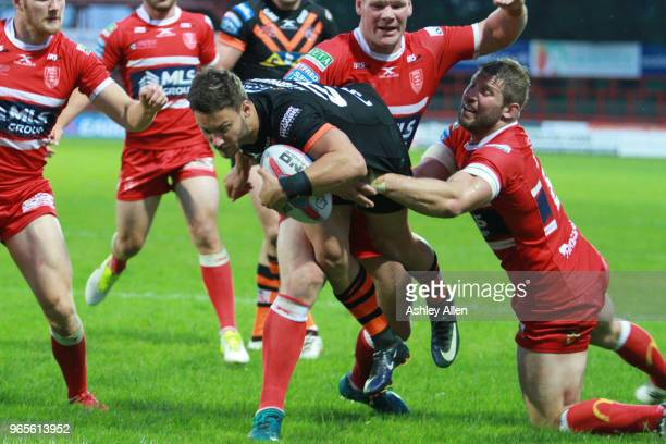 Jy Hitchcox of Castleford Tigers dives in for a try during the Roger Millward Trophy match between Hull KR and Castleford Tigers as part of the...