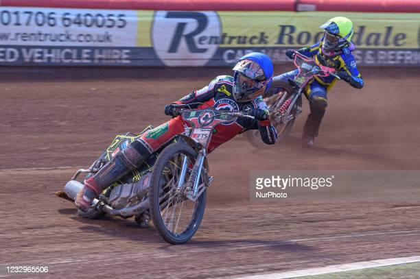 Jye Etheridge leads Josh Bates during the SGB Premiership match between Belle Vue Aces and Sheffield Tigers at the National Speedway Stadium,...