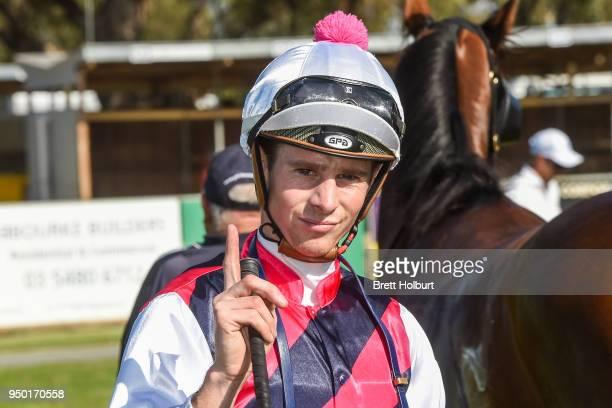 Jye McNeil after winning the Echuca CIH 3YO Maiden Plate at Echuca Racecourse on April 23 2018 in Echuca Australia