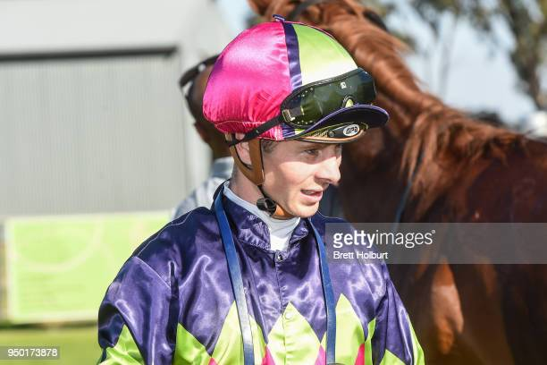 Jye McNeil after winning the Quest Echuca Maiden Plate at Echuca Racecourse on April 23 2018 in Echuca Australia