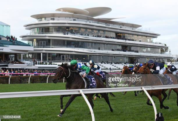 Jye McNeil riding Furrion winning Race 9 during Melbourne racing at Flemington Racecourse on September 15 2018 in Melbourne Australia