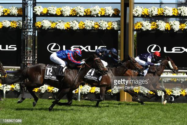 Jye McNeil riding Twilight Payment wins race 7, the Lexus Melbourne Cup ahead of Kerrin Mcevoy riding Tiger Moth and Jamie Kah riding Prince Of Arran...