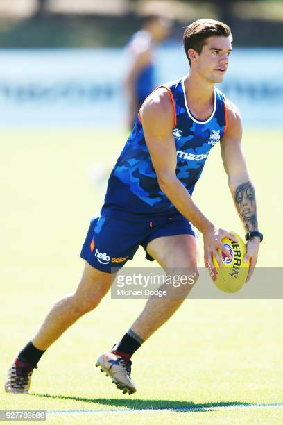 Jye Simkin of the Kangaroos during a North Melbourne Kangaroos AFL training session at Arden Street Ground on March 6 2018 in Melbourne Australia