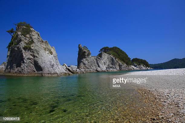 jyodogahama beach, miyako, iwate, japan - iwate prefecture stock pictures, royalty-free photos & images