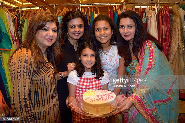 Jyoti Karmali Poonam Sahgal Jhilika and Anjali Deepak with Bollywood star Poonam Dhillon at her festive clothing curation Poonam's PopUp at an...