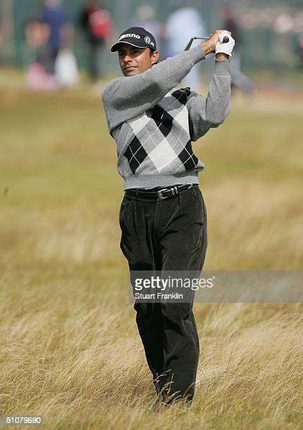 Jyoti Randhawa of India plays his second shot on the 2nd hole during the final round of the 133rd Open Championship at the Royal Troon Golf Club on...