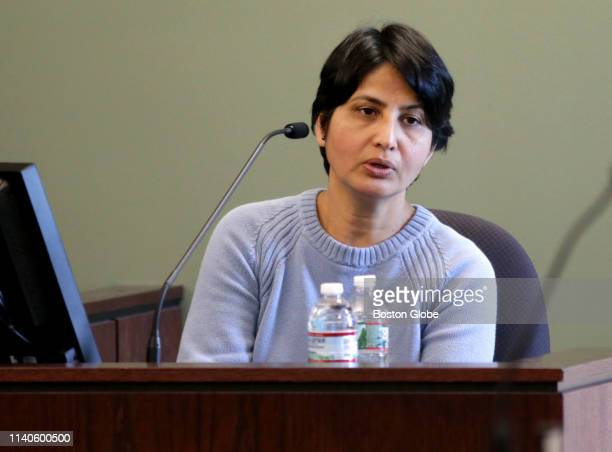 Jyoti Shinde testifies in the murder trial of babysitter Pallavi Macharla in Middlesex Superior Court in Woburn MA on April 30 2019 Macharla who has...