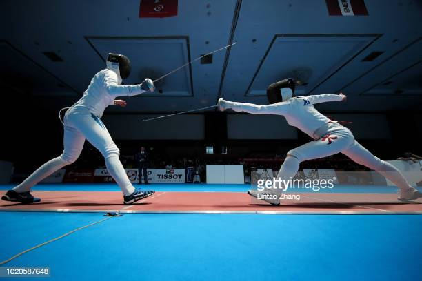 Jyotika Dutta of India competes against Man Wai Vivian Kong of China Hong Kong of Thailand during the Women's Epee Individual Quarterfinals of...