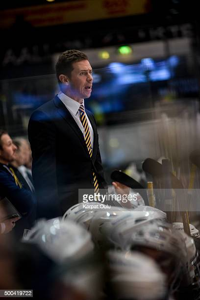 Jyrki Aho, the head coach Espoo Blues during the Champions Hockey League quarter final between Karpat Oulu and Espoo Blues at Oulun Energia-Areena on...