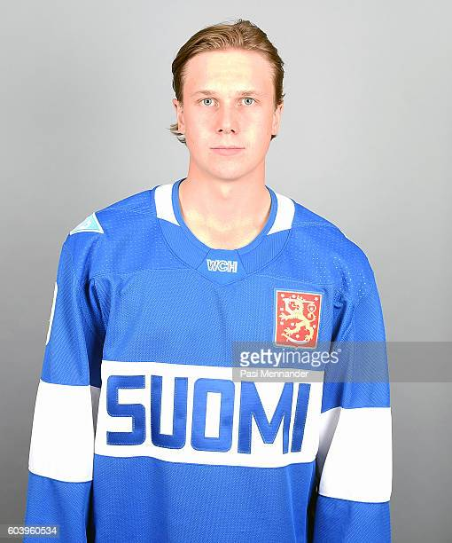 Jyrki Jokipakka of Team Finland poses for his official World Cup of Hockey head shot at Radisson Blu Plaza Hotel Helsinki on September 4 2016 in...