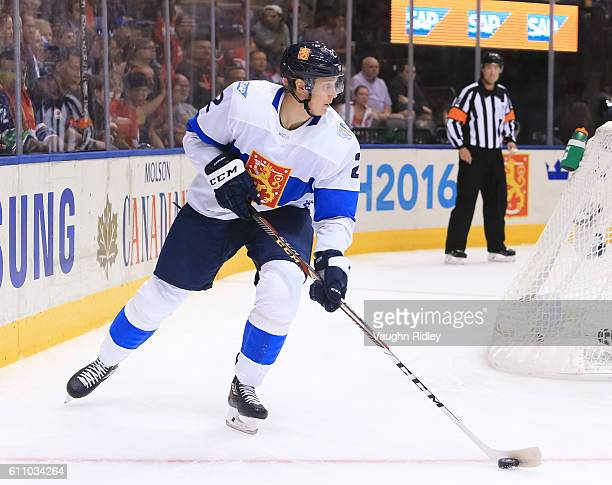 Jyrki Jokipakka of Team Finland stickhandles the puck against Team Russia during the World Cup of Hockey 2016 at Air Canada Centre on September 22...