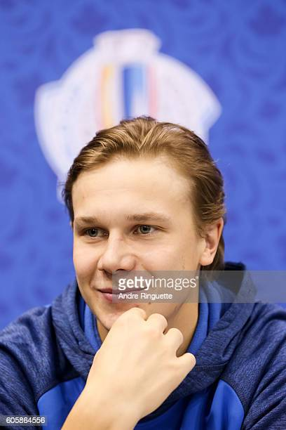 Jyrki Jokipakka of Team Finland takes questions during media day at the World Cup of Hockey 2016 at Air Canada Centre on September 15 2016 in Toronto...