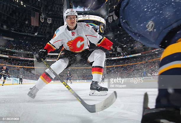 Jyrki Jokipakka of the Calgary Flames follows the play against the Buffalo Sabres during an NHL game on March 3 2016 at the First Niagara Center in...