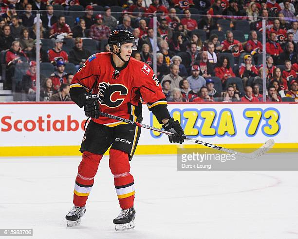 Jyrki Jokipakka of the Calgary Flames in action against the Buffalo Sabres during an NHL game at Scotiabank Saddledome on October 18 2016 in Calgary...