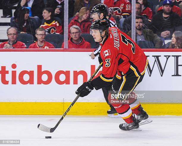 Jyrki Jokipakka of the Calgary Flames in action against the Los Angeles Kings during an NHL game at Scotiabank Saddledome on April 5 2016 in Calgary...