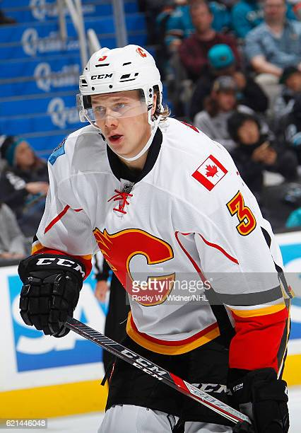 Jyrki Jokipakka of the Calgary Flames looks on during the game against the San Jose Sharks at SAP Center on November 3 2016 in San Jose California