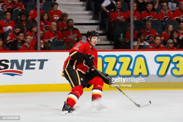 Jyrki Jokipakka of the Calgary Flames skates against the Florida Panthers during an NHL game on January 17 2017 at the Scotiabank Saddledome in...