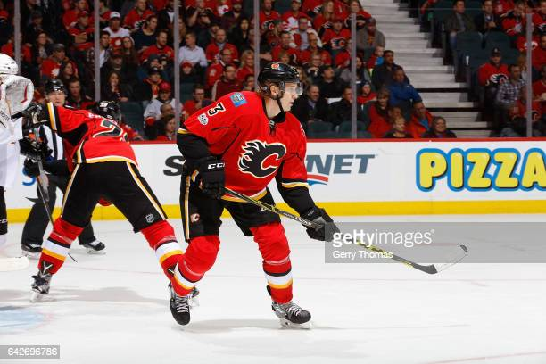 Jyrki Jokipakka of the Calgary Flames skates against the San Jose Sharks during an NHL game on January 11 2017 at the Scotiabank Saddledome in...