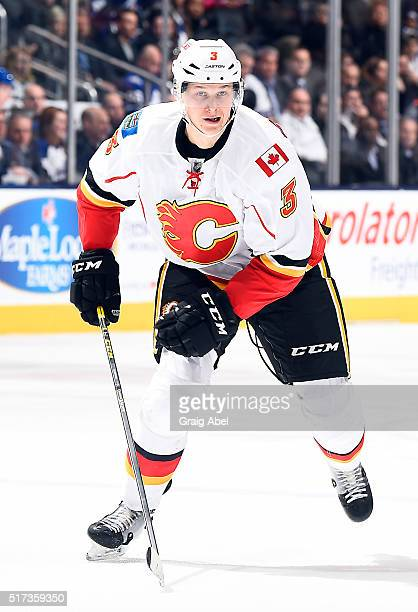 Jyrki Jokipakka of the Calgary Flames skates up ice against the Toronto Maple Leafs during game action on March 21 2016 at Air Canada Centre in...