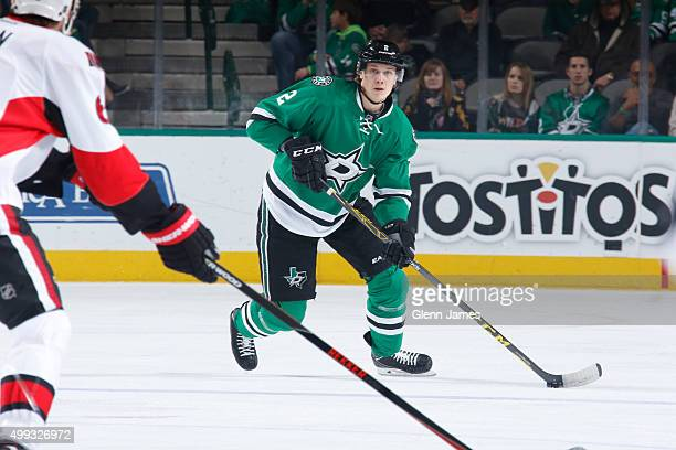 Jyrki Jokipakka of the Dallas Stars handles the puck against the Ottawa Senators at the American Airlines Center on November 24 2015 in Dallas Texas