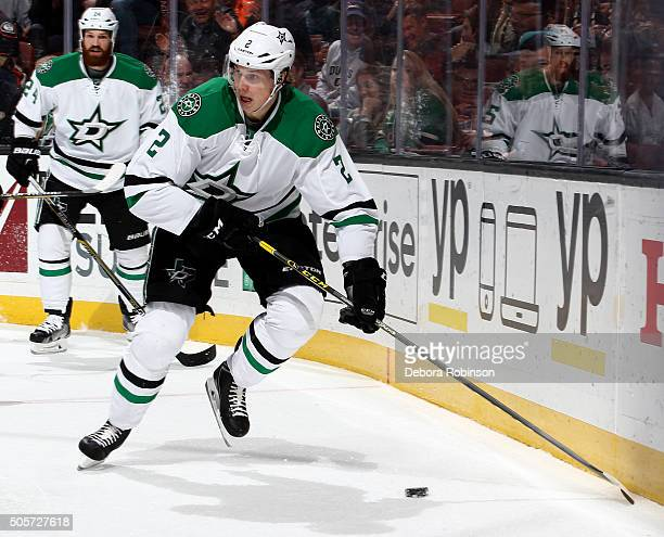 Jyrki Jokipakka of the Dallas Stars handles the puck against the Anaheim Ducks on January 15 2016 at Honda Center in Anaheim California