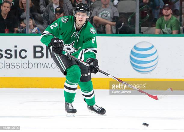 Jyrki Jokipakka of the Dallas Stars handles the puck against the St Louis Blues at the American Airlines Center on April 3 2015 in Dallas Texas