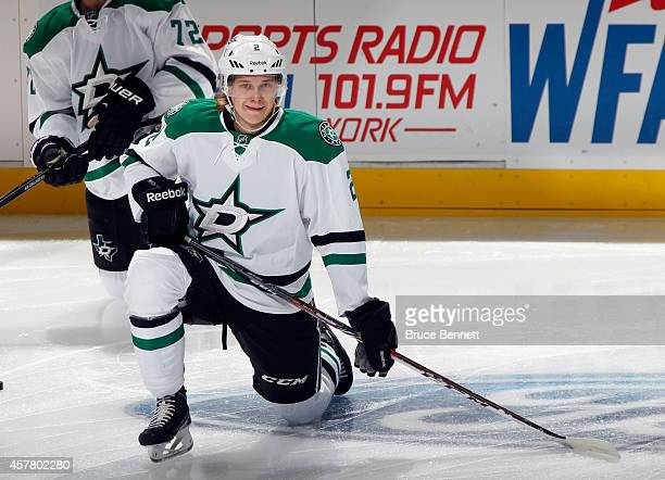 Jyrki Jokipakka of the Dallas Stars stretches before playing in his first NHL game against the New Jersey Devils at the Prudential Center on October...