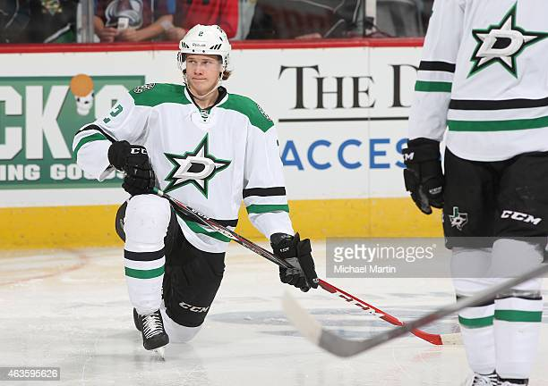 Jyrki Jokipakka of the Dallas Stars stretches prior to the game against the Colorado Avalanche at the Pepsi Center on February 14 2015 in Denver...
