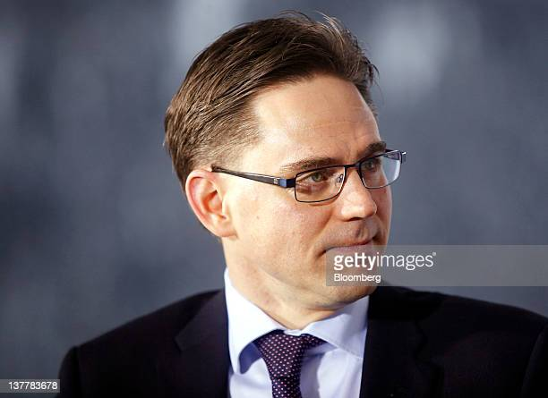 Jyrki Katainen Finland's prime minister listens during a television interview on day three of the World Economic Forum in Davos Switzerland on Friday...