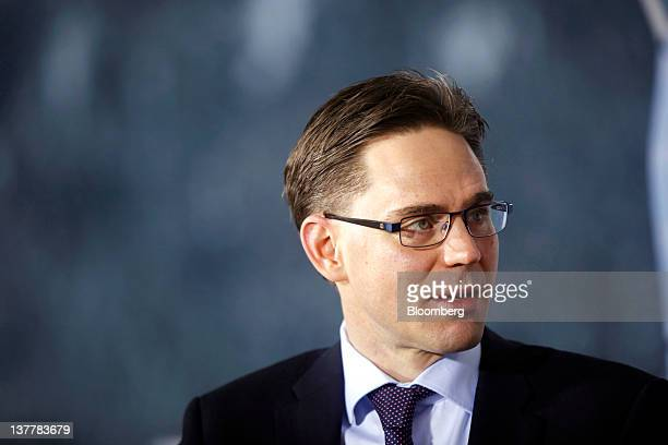 Jyrki Katainen Finland's prime minister speaks during a television interview on day three of the World Economic Forum in Davos Switzerland on Friday...