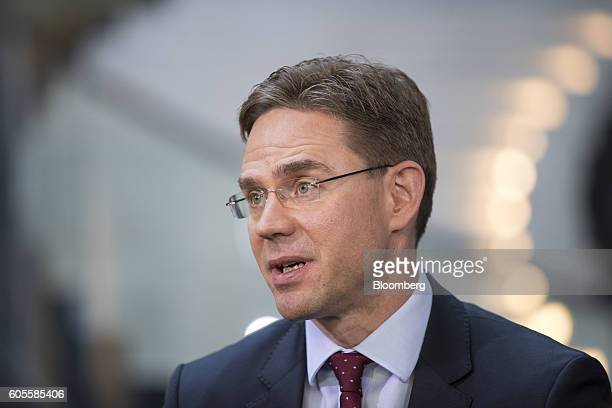 Jyrki Katainen vice president of the European Commission speaks during a Bloomberg Television interview at the European Parliament in Strasbourg...