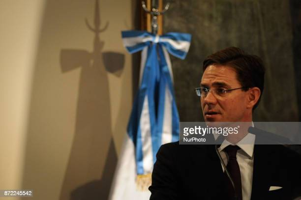 Jyrki Katainen Vice President of the European Community during a press conference on an official visit on November 9 2017 in Buenos Aires Argentina...