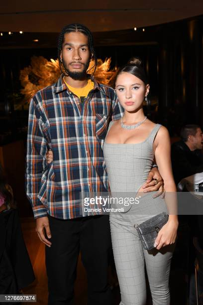 Jyrrel Roberts and Iris Law are seen at the Bulgari Milan SS 2021 Event on September 25, 2020 in Milan, Italy.