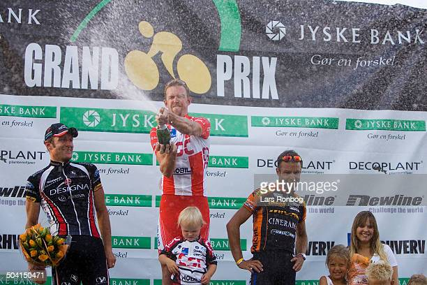Jyske Bank Grand Prix Silkeborg Winner of the race Allan Johansen Team CSC left no two Allan Bo Andresen Team Designa Køkken right no three Bo...