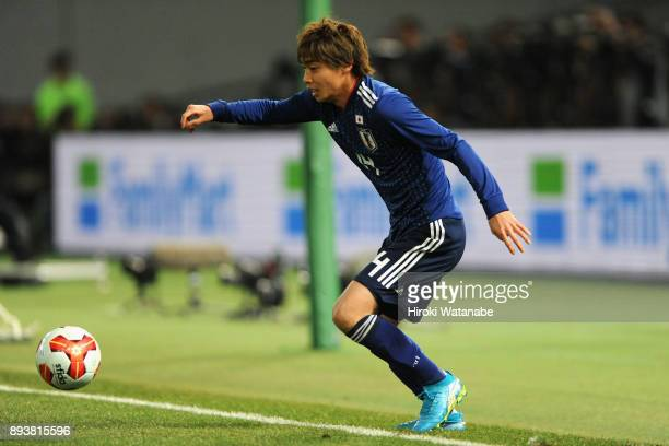 Jyunya Ito of Japan in action during the EAFF E1 Men's Football Championship between Japan and South Korea at Ajinomoto Stadium on December 16 2017...