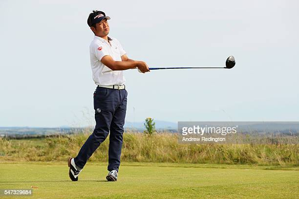 JYuta Ikeda of Japan tees off on the 13th hole during the first round on day one of the 145th Open Championship at Royal Troon on July 14 2016 in...