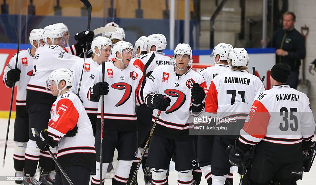 Jyvaskyla celebrates after victory 3-0 against HV71 Jonkoping during the Champions Hockey League group stage game between HV71 Jonkoping and JYP Jyvaskyla on October 7, 2014 in Jonkoping, Sweden.