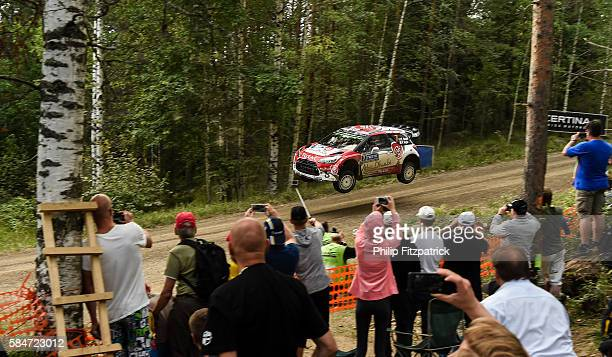 Jyvaskyla Finland 31 July 2016 Kris Meeke of Northern Ireland and Paul Nagle of Ireland compete in their Citroen D3S WRC during SS18 Paijala of the...