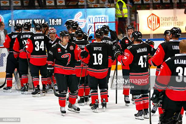 Jyvaskyla players celebrate their victory after the Champions Hockey League group stage game between JYP Jyvaskyla and Red Bull Salzburg on August 22...