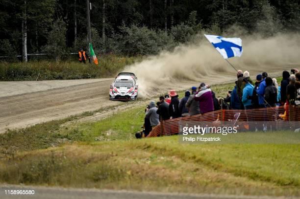 Jyväskylä Finland 2 August 2019 Ott Tänak and Martin Järveoja in their Toyota Yaris WRC on Stage 3 Moksi during Round 9 of the FIA World Rally...