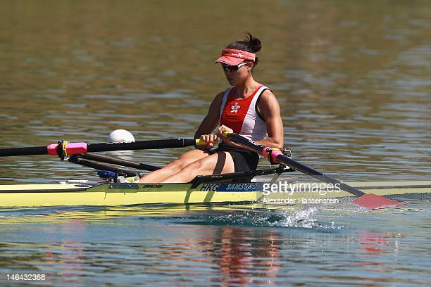 Ka Man Lee of Hong Kong competes in the Women´s Lightweight Single Scull heats during the 2012 Samsung World Rowing Cup III at the...