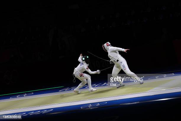Ka Mong Chu of Team Hong Kong, left, competes against Courtney Hurley of Team United States in Women's Épée Team Classifications on day four of the...