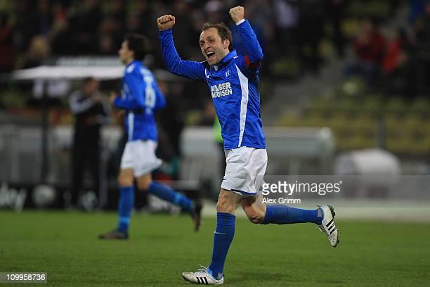 Ka9 of Karlsruhe gestures to supporters after Stefan Mueller scored his team's third goal during the Second Bundesliga match between Karlsruher SC...