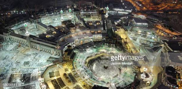 kaaba in mecca top view - mecca stock pictures, royalty-free photos & images