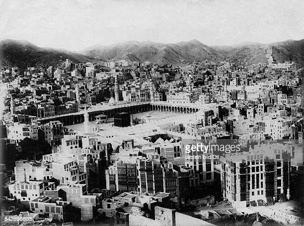 Kaaba inside the al-Masjid al-Haram mosque in Mecca, Saudi Arabia.The sacred shrine of Islam, date unknown, around 1927