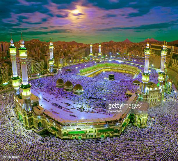 kaaba mecca - al haram mosque stock photos and pictures