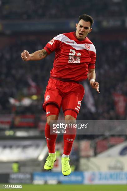 Kaan Ayhan of Fortuna Duesseldorf celebrates after scoring his team's first goal during the Bundesliga match between Fortuna Duesseldorf and...