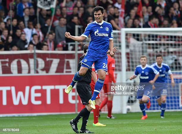 Kaan Ayhan of Schalke 04 celebrates his opening goal during the Bundesliga match between SC Freiburg and FC Schalke 04 at Mage Solar Stadium on May 3...