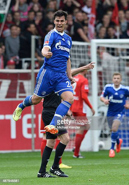 Kaan Ayhan of Schalke celebrates his opening goal during the Bundesliga match between SC Freiburg and FC Schalke 04 at Mage Solar Stadium on May 3...