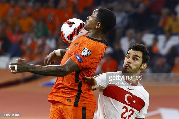 Kaan Ayhan of Turkey in action during the 2022 FIFA World Cup Qualifiers Group G soccer match between Netherlands and Turkey at the Johan Cruijff...